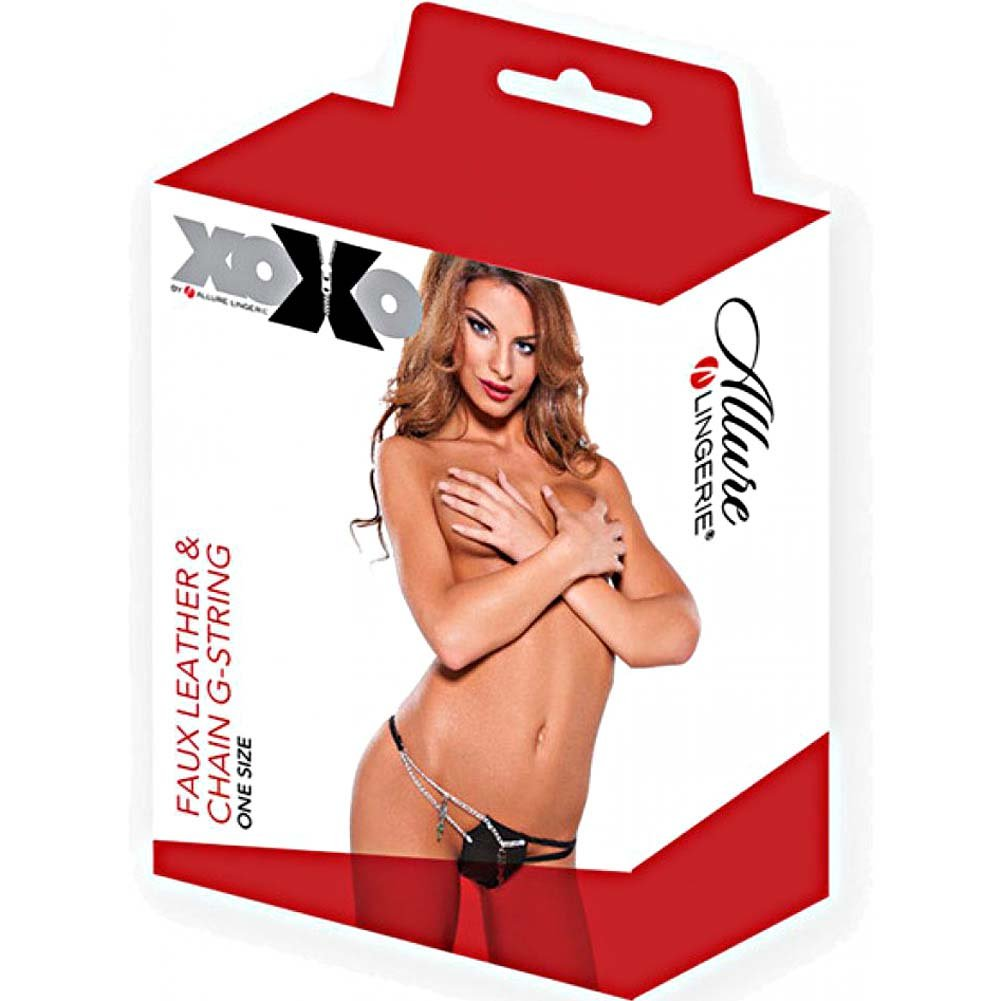 XOXO Faux Leather and Chain G-String One Size Black - View #3