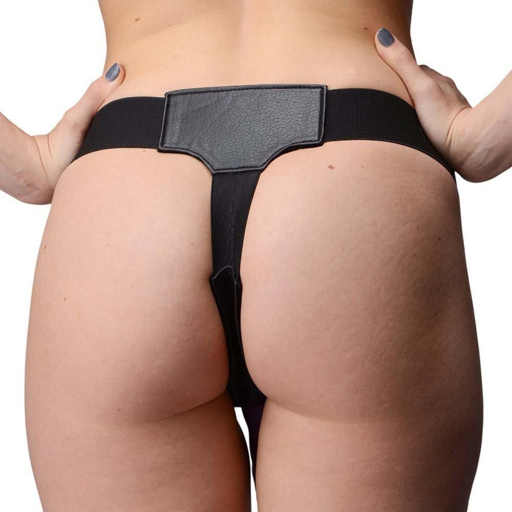 XR Brands Strap U Crave Double Penetration Faux Leather Strap-On Harness Black - View #3
