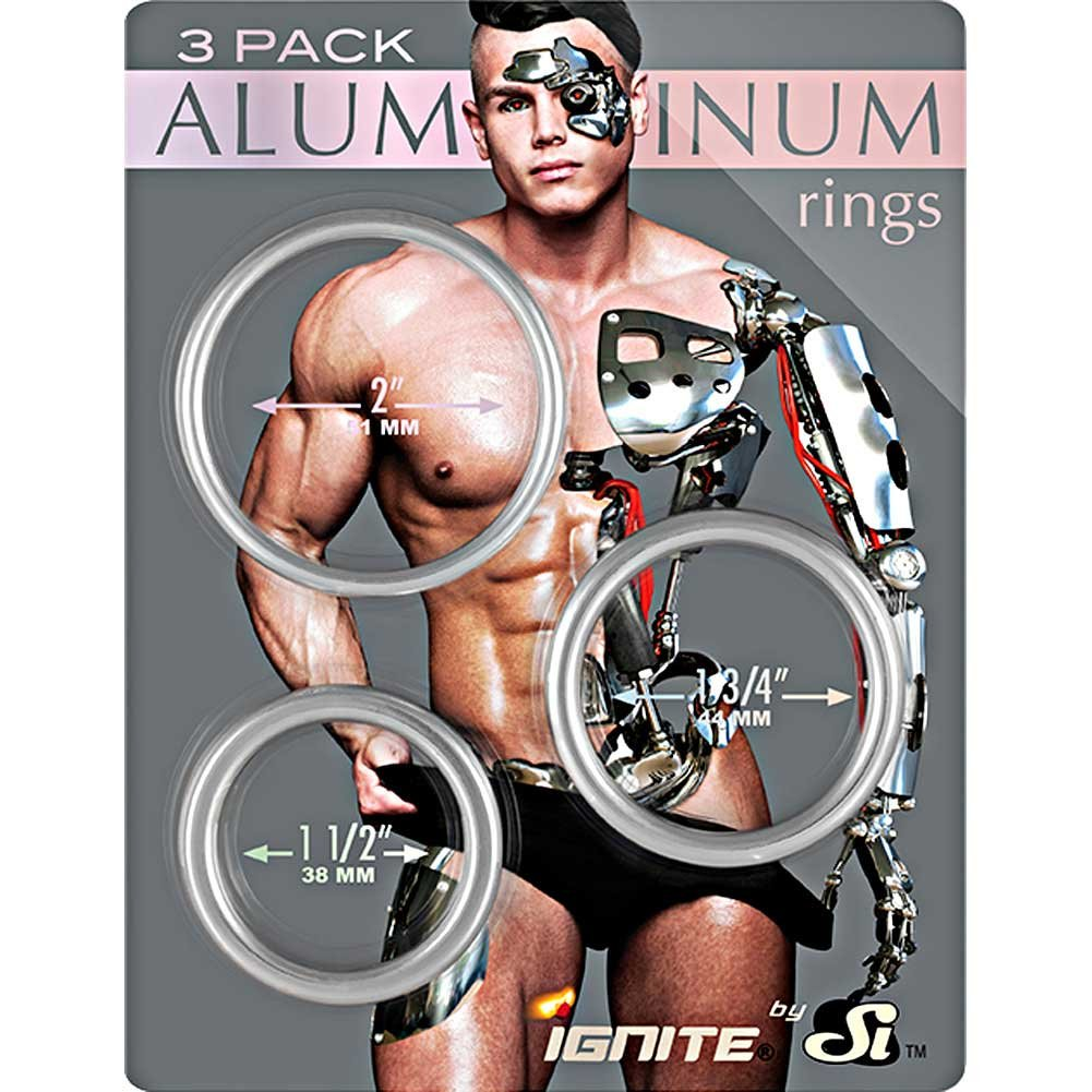 SI Novelties Aluminum Platinum Cockring Pack of 3 Silver - View #1