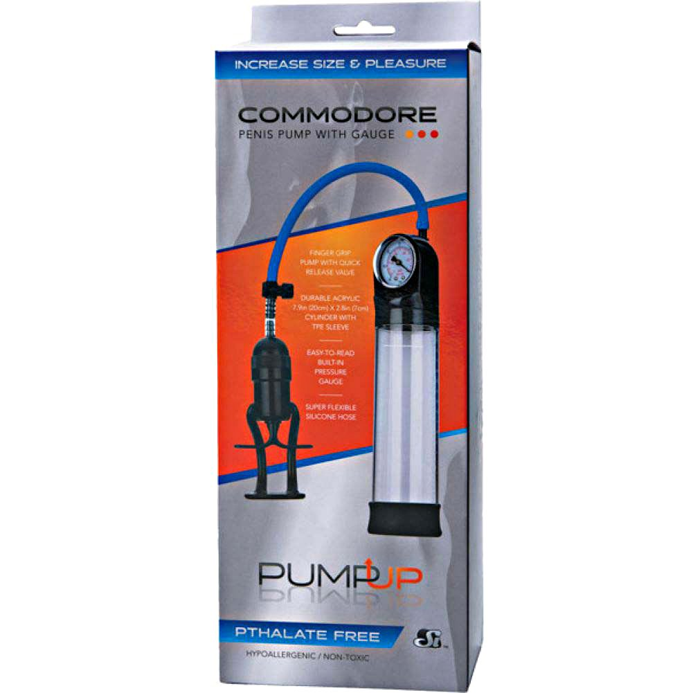 Si Novelties The Commodore Penis Pump with Gauge Clear - View #1