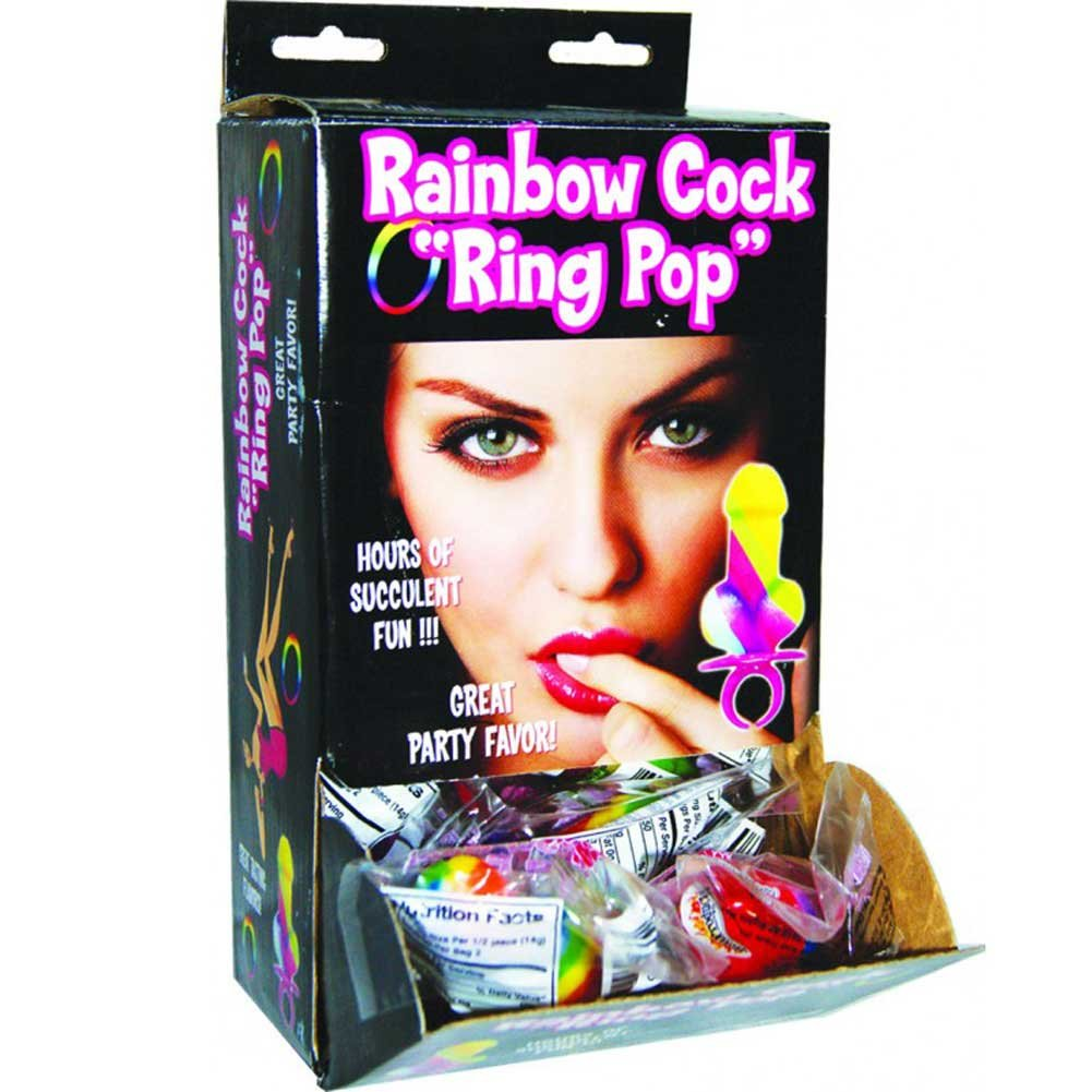 Hott Products Rainbow Ring Cock Pop Wall Mount Display Pack of 12 - View #2