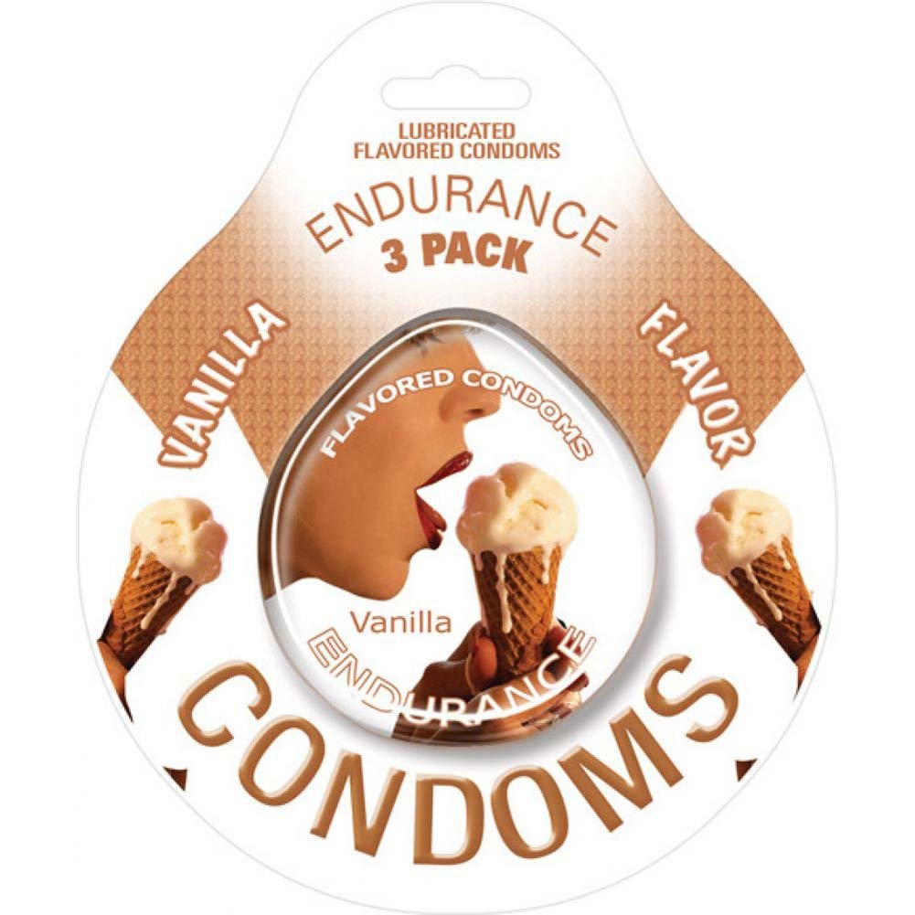Hott Products Endurance Vanilla Condoms Pack of 3 - View #1