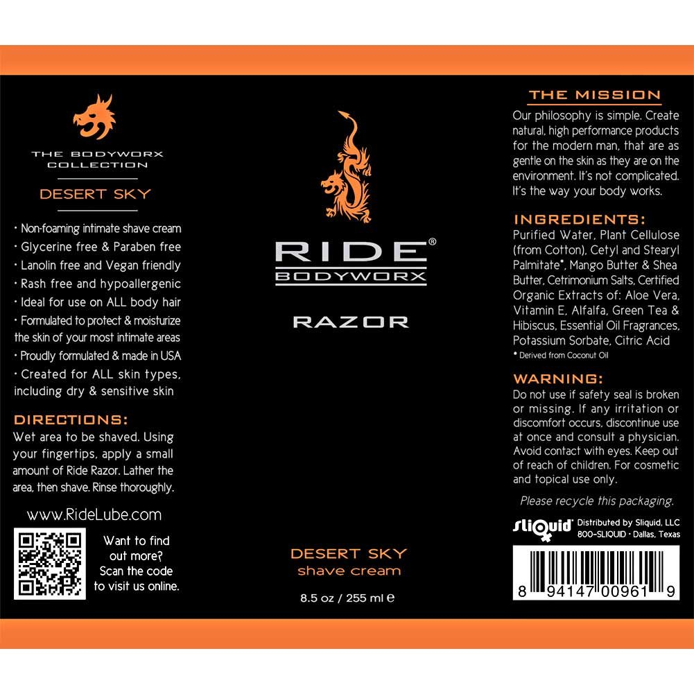 Sliquid Ride Bodyworx Razor Body Shave Cream 8.5 Fl.Oz Desert Sky - View #1