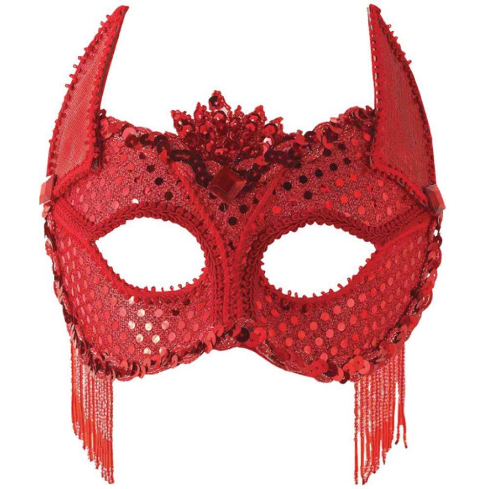 Forum Novelties Red Sequin Devil Costume Eye Mask with Horns - View #1