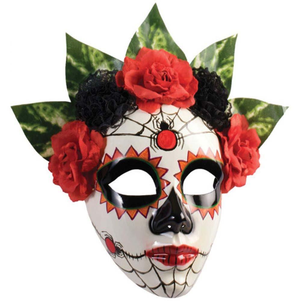 Forum Novelties Day of the Dead Senorita Spider Full Mask with Flower Trim Red/Black - View #1