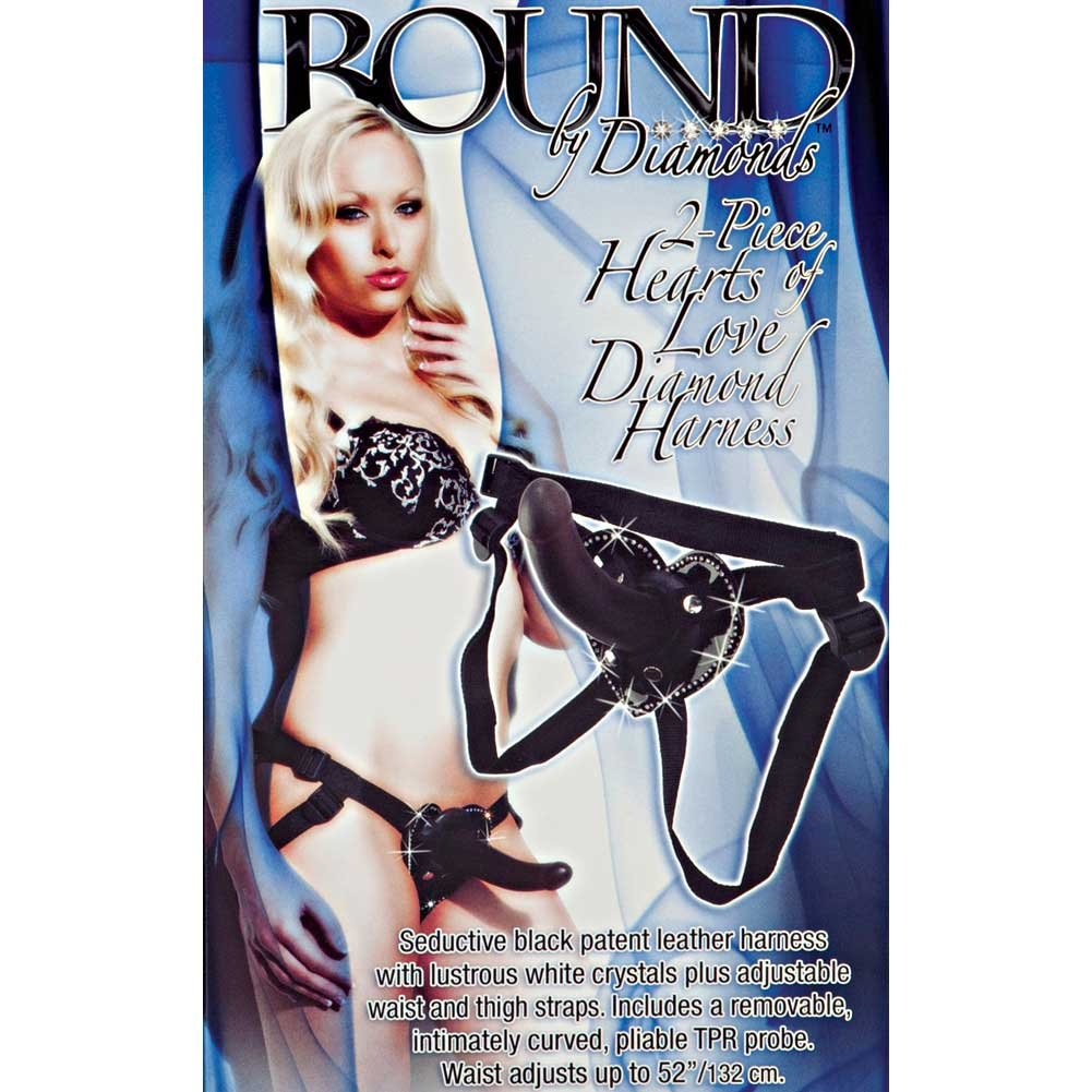 Bound by Diamonds Hearts of Love Diamond Harness and Strap-On Dildo Set Black - View #1