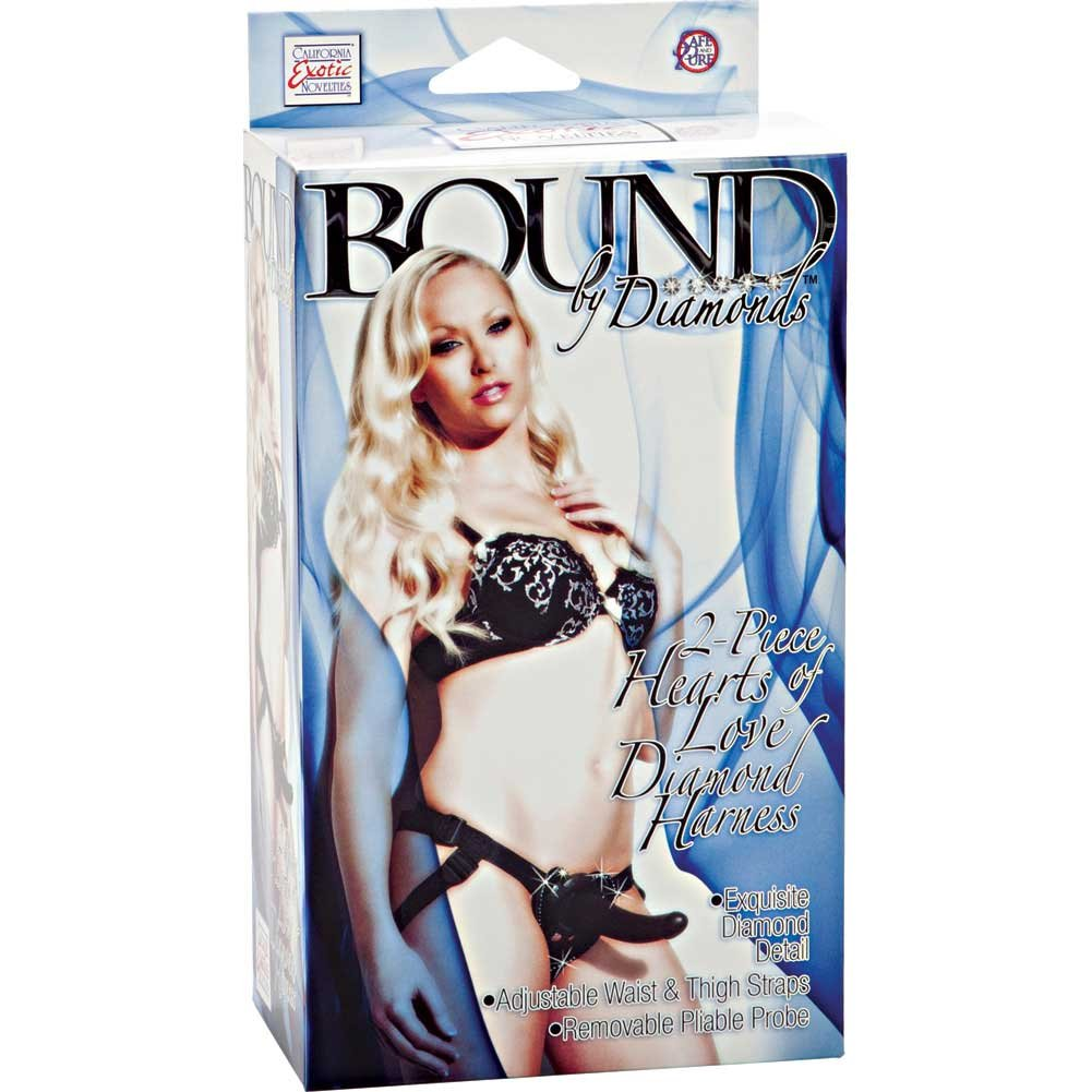 Bound by Diamonds Hearts of Love Diamond Harness and Strap-On Dildo Set Black - View #3