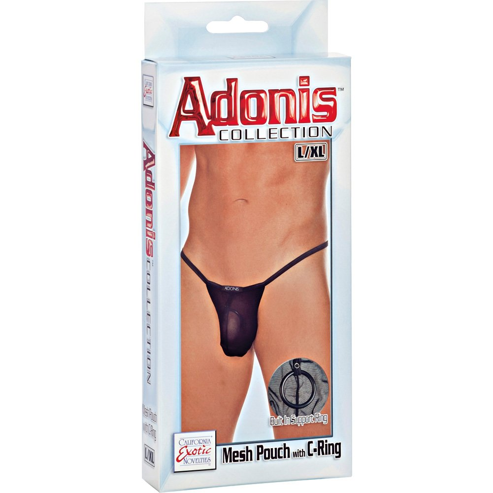 CalExotics Adonis Collection Mesh Pouch with C-Ring Large/XL Black - View #3