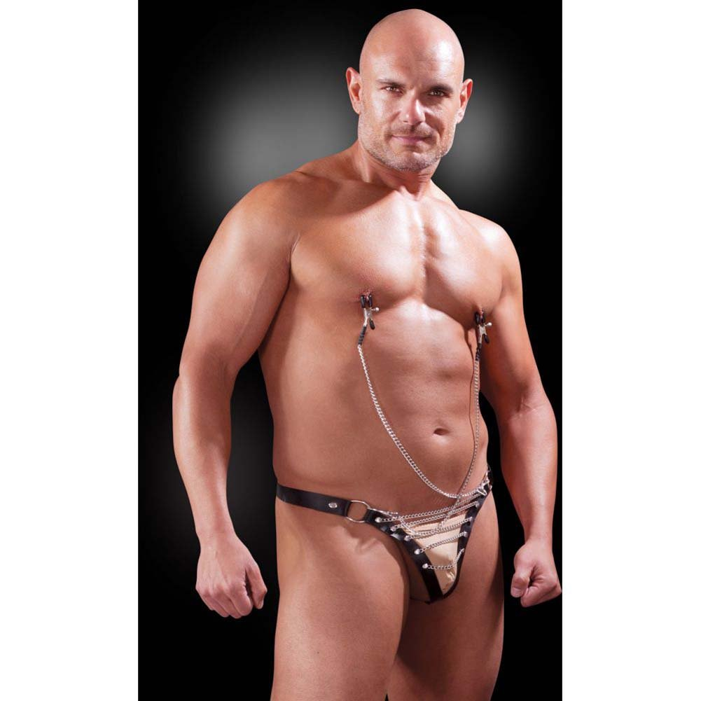 Fetish Fantasy Lingerie Male Chain Gang Thong and Nipple Clamps Set 2XL/3XL Black - View #1