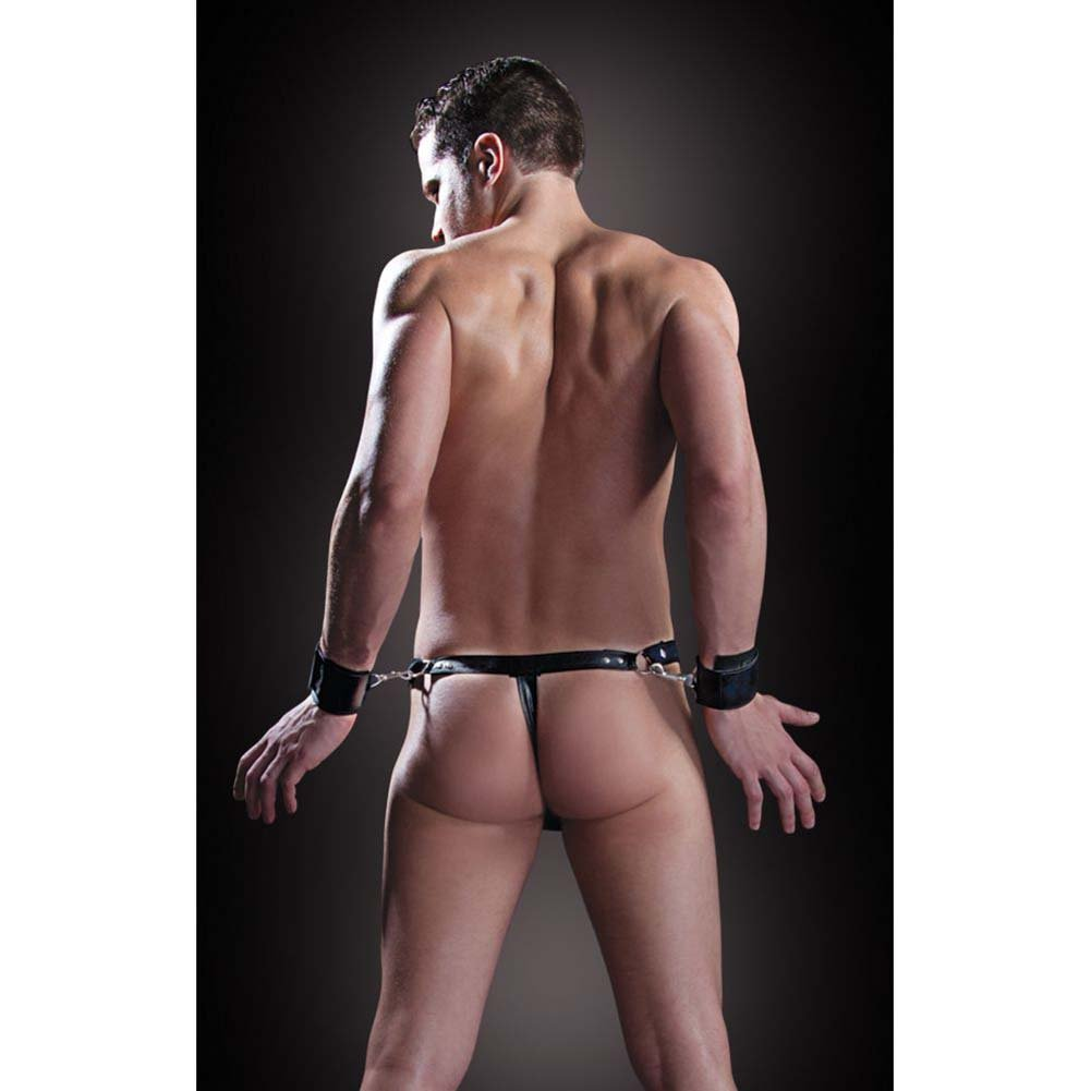 Fetish Fantasy Lingerie Bondage Thong with Cuffs Small/Medium Black - View #3
