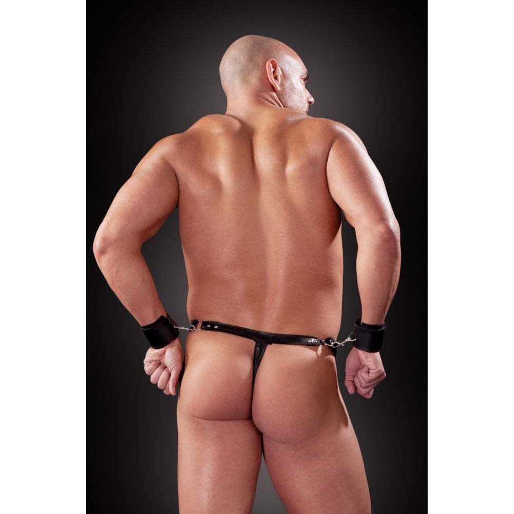Fetish Fantasy Lingerie Bondage Thong with Cuffs Large/Extra Large Black - View #4
