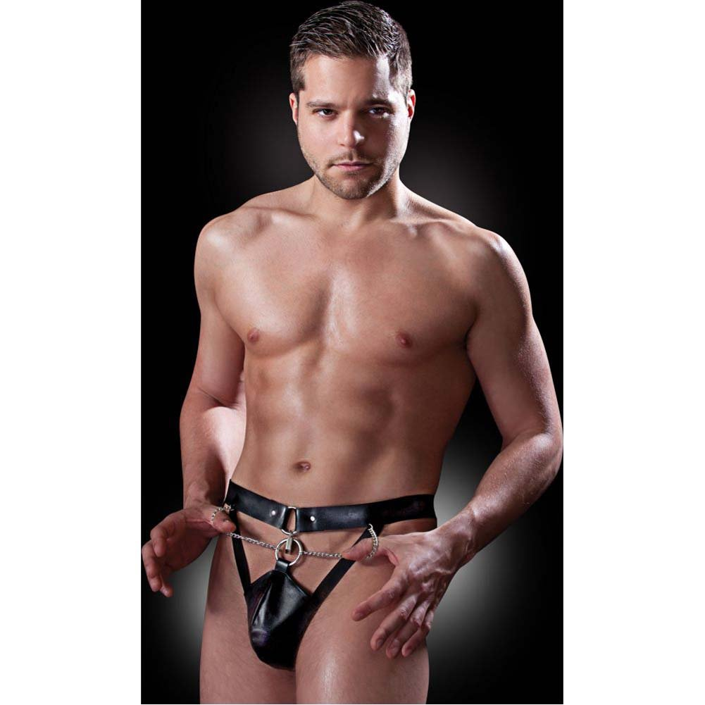 Fetish Fantasy Lingerie Chastity Belt with Locks and Keys Small/Medium Black - View #1