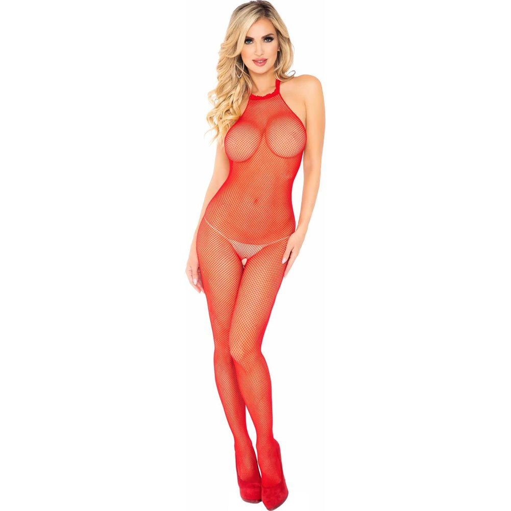 Leg Avenue Seamless Fishnet Bodystocking One Size Red - View #1
