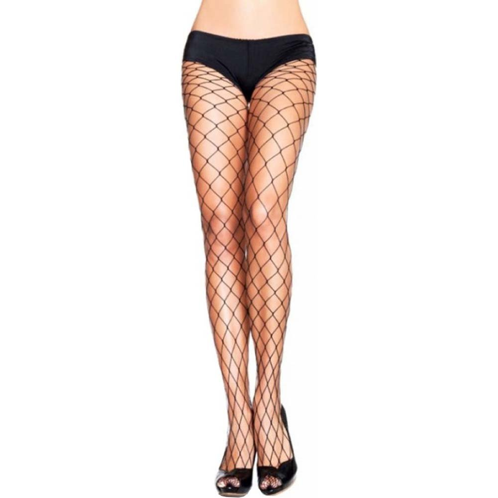 Leg Avenue Fence Net Pantyhose One Size Black - View #1