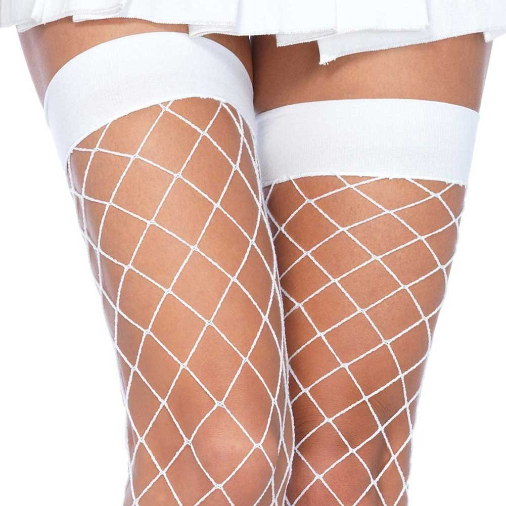Leg Avenue Fence Net Thigh Highs One Size White - View #2