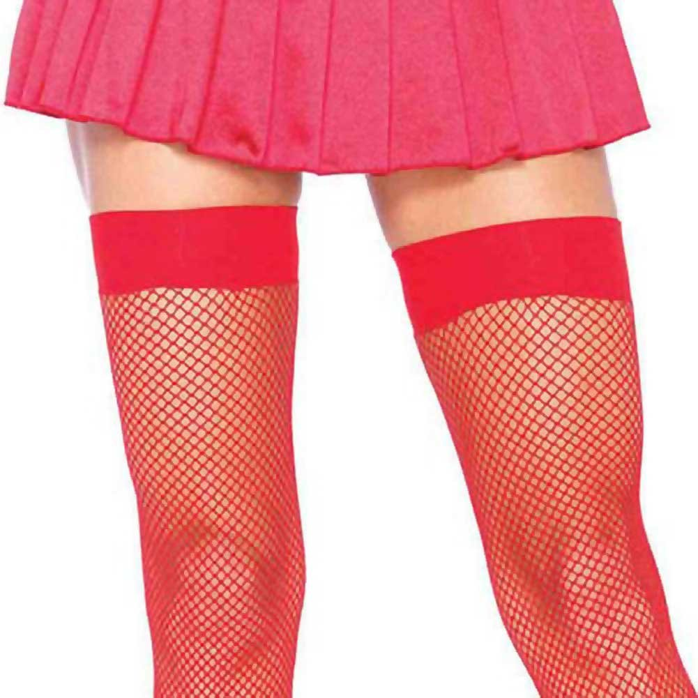 Leg Avenue Nylon Fishnet Thigh High Stockings One Size Red - View #2
