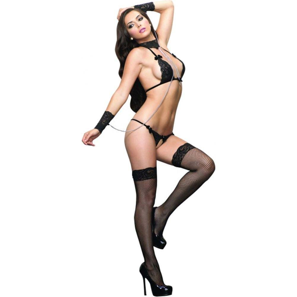 Leg Avenue 3 Piece Halter Bra with Wrist Cuffs and Crotchless G-String One Size Black - View #1