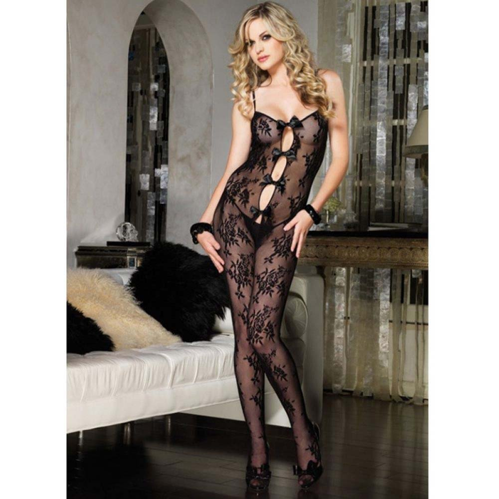 Leg Avenue Bouquet Lace Bodystocking with Keyhole Bow Detail One Size Black - View #2