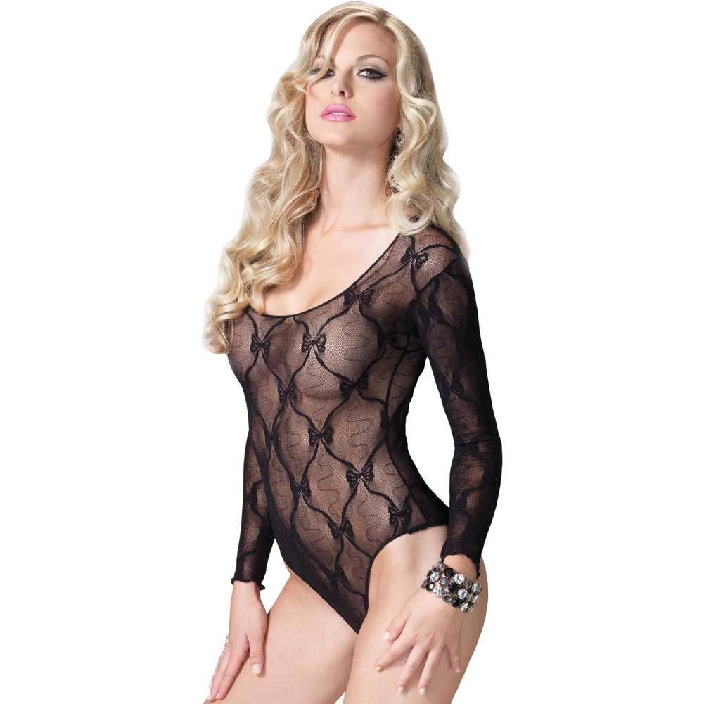Leg Avenue Bow Lace Long Sleeved Teddy One Size Black - View #1