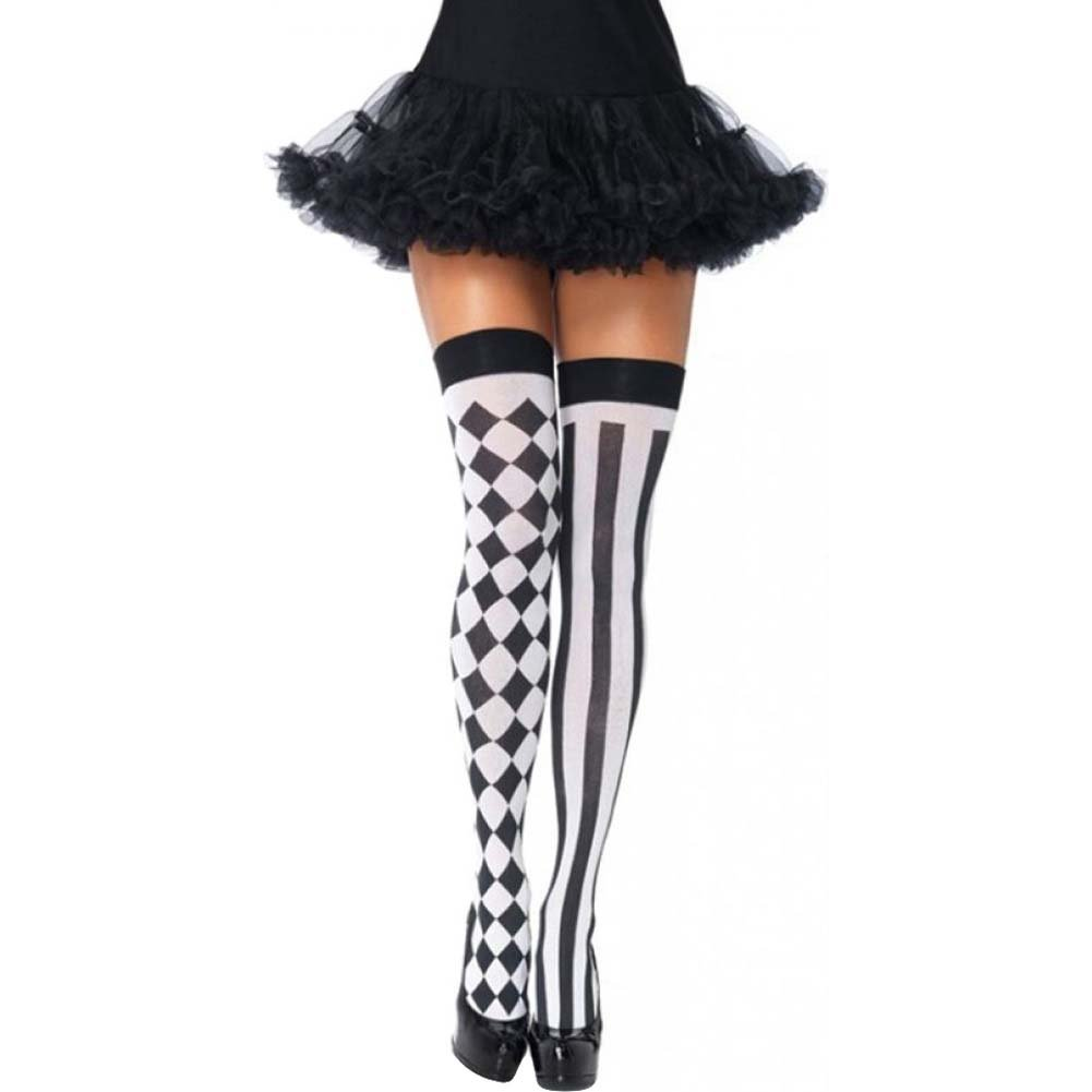 Leg Avenue Harlequin Thigh Highs One Size Black/White - View #1