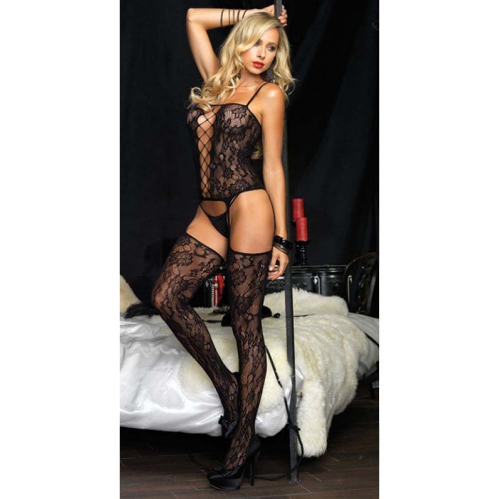 Leg Avenue Floral Bouquet Lace Suspender Bodystocking One Size Black - View #4