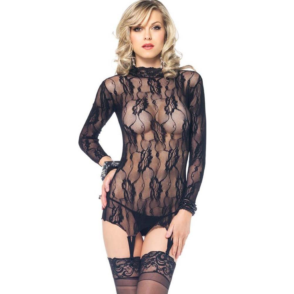 Leg Avenue 2 Piece Floral Lace Garter Top and G-String One Size Black - View #1