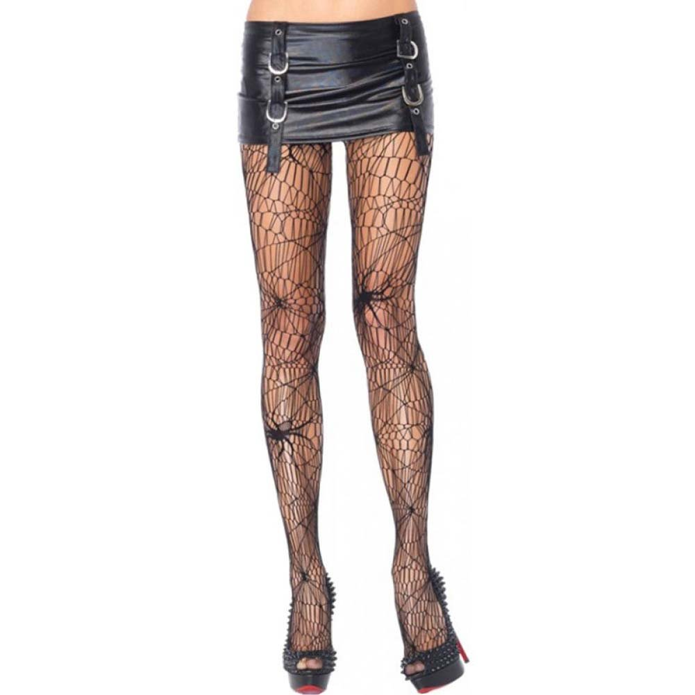 Leg Avenue Black Widow Spider Net Pantyhose One Size Black - View #1