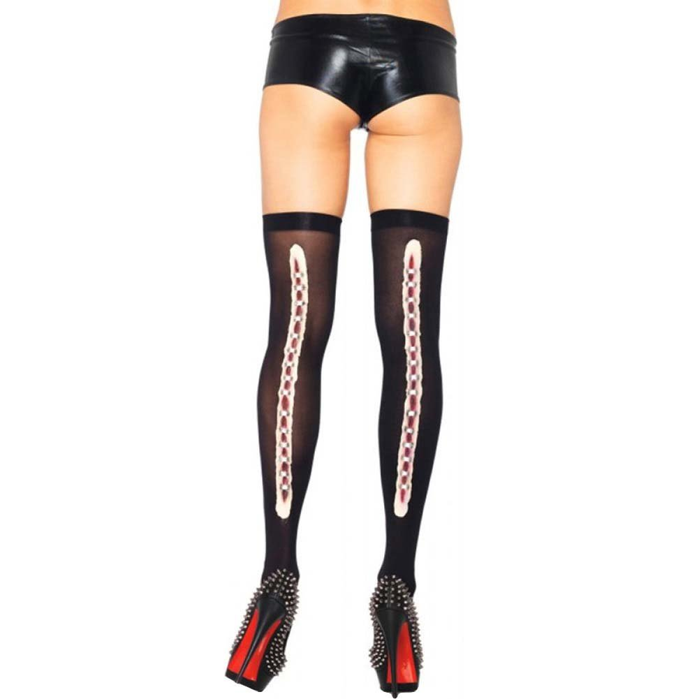 Leg Avenue Thigh Highs with Stapled Wound Backseam One Size Black - View #1