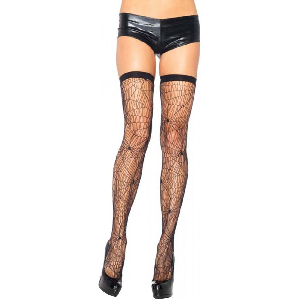 Leg Avenue Spiderweb Net Thigh Highs One Size Black - View #1