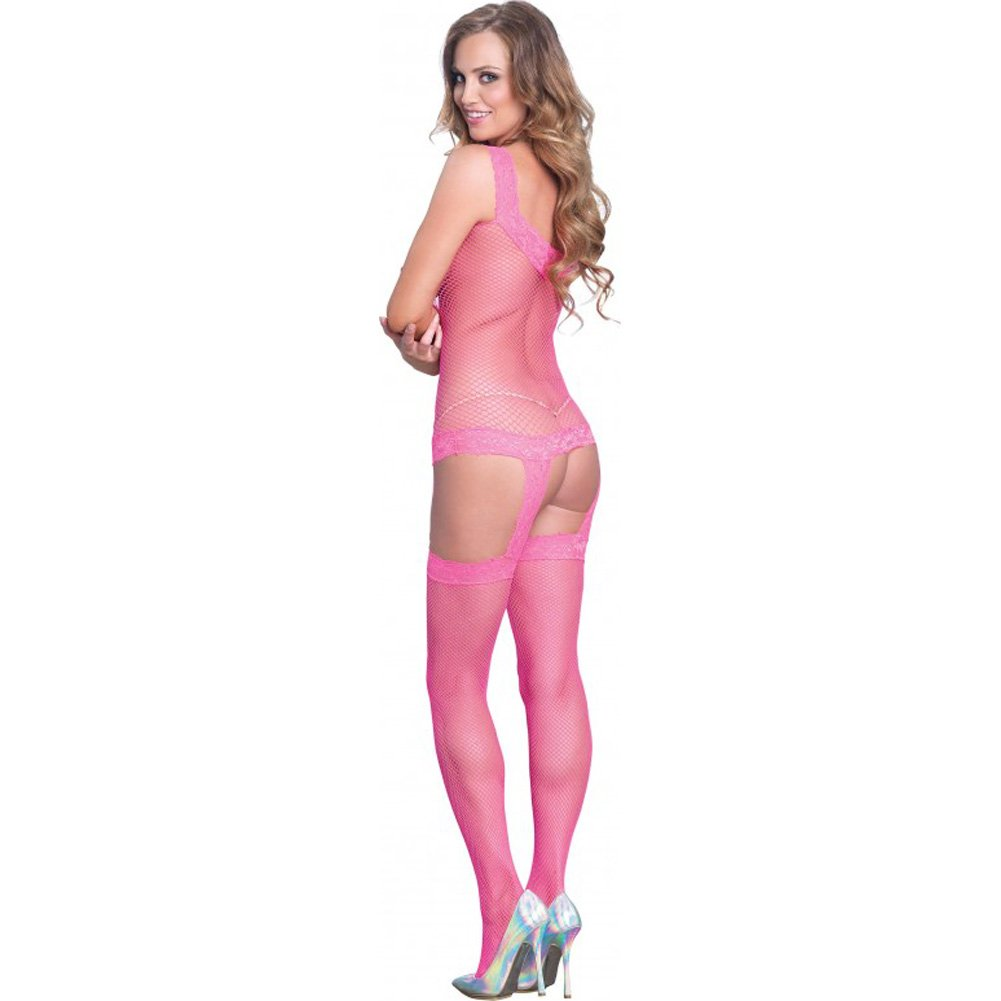 Leg Avenue Fishnet Garter Dress with Lace Trim Detail and Stockings One Size Pink - View #2