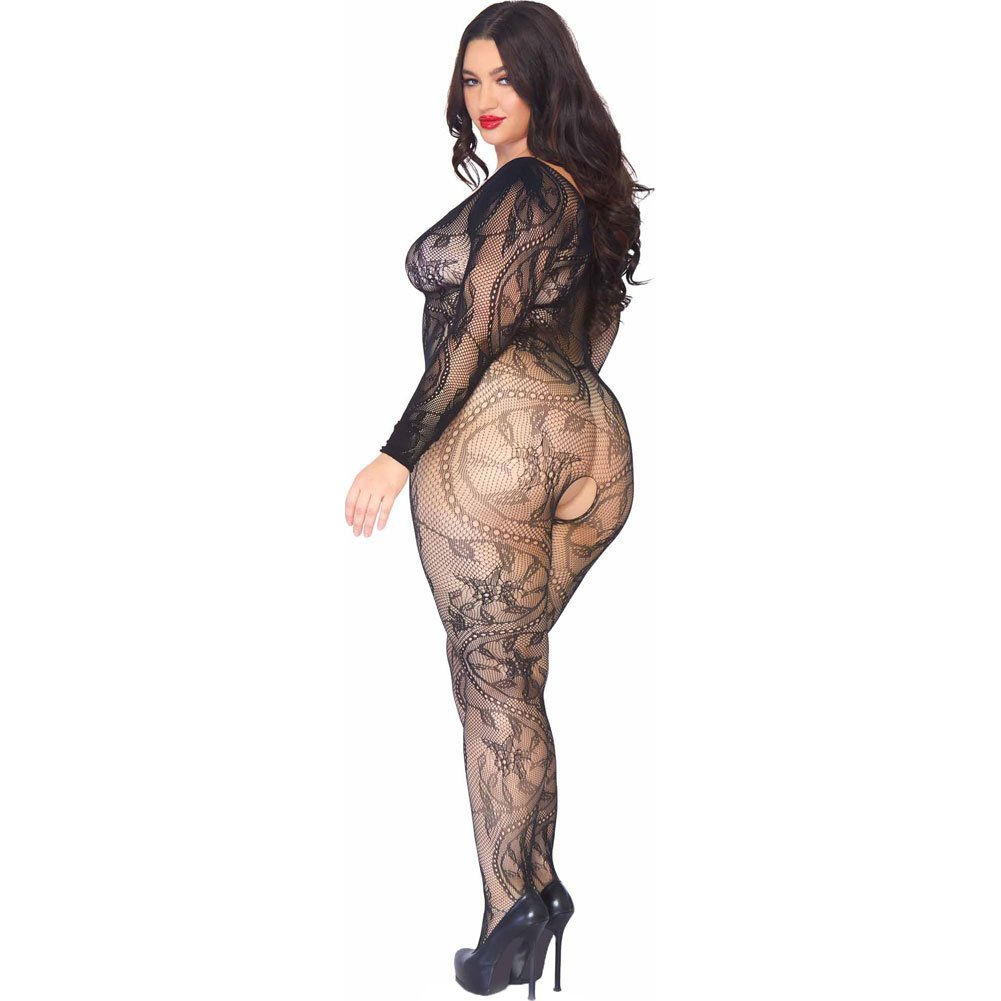 Leg Avenue Spiral Lace Bodystocking One Size Queen Black - View #2