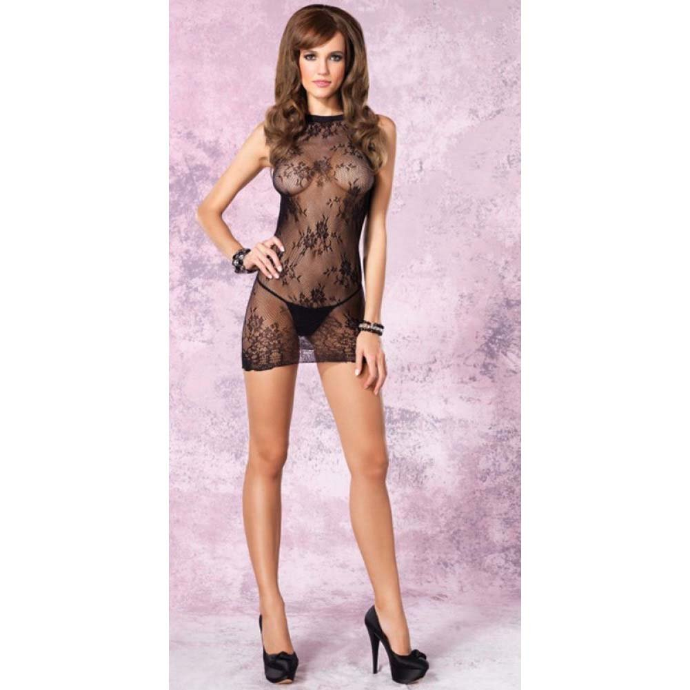 Leg Avenue Floral Mini Dress with Cut Out Back One Size Black - View #4