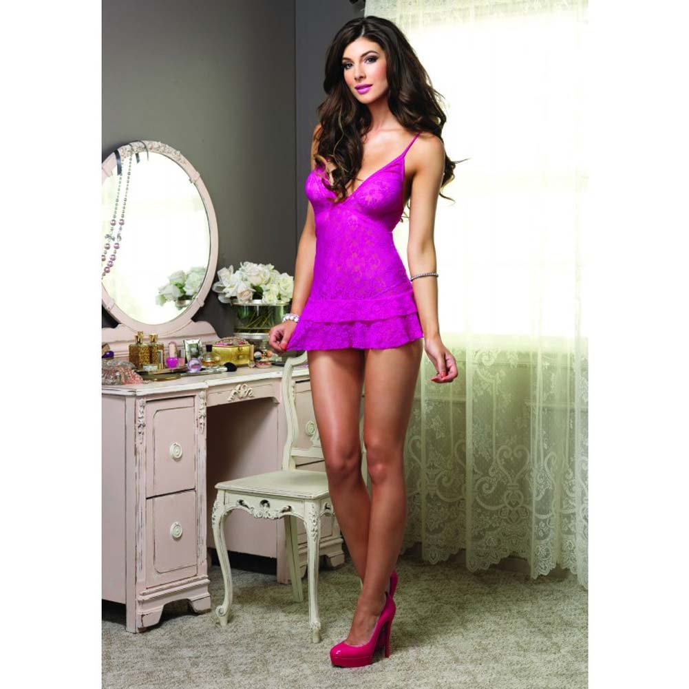 Leg Avenue Lace Chemise with Layered Skirt One Size Fuchsia - View #2