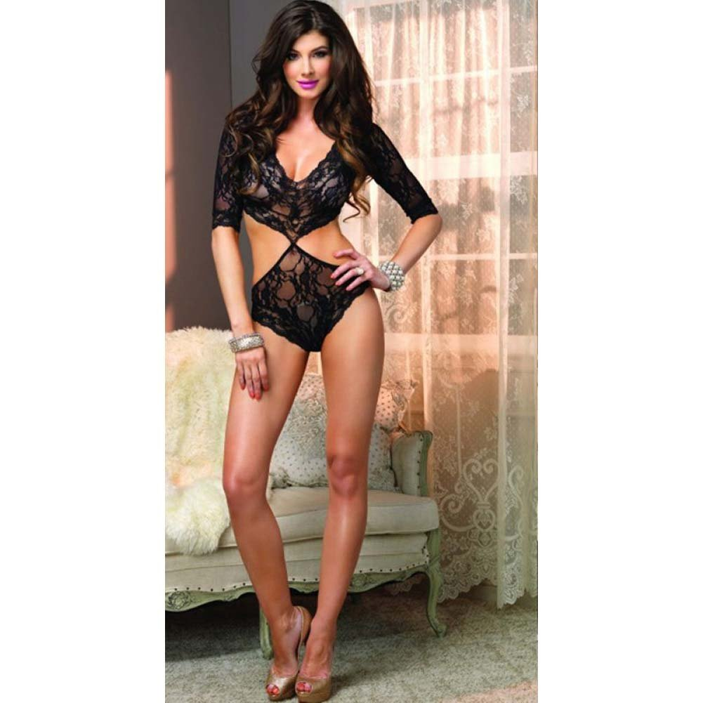 Leg Avenue Floral Lace Deep-V Teddy. One Size Black - View #3