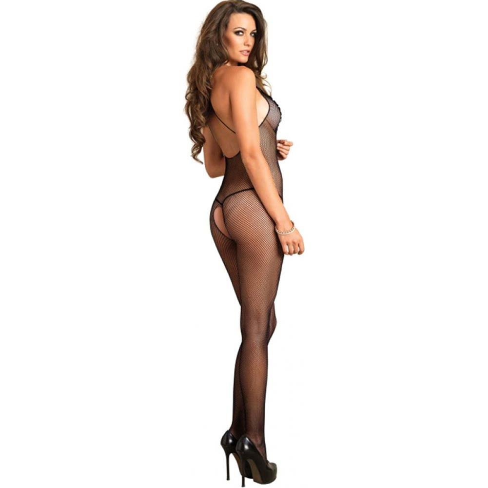 Leg Avenue Fishnet Bodystocking with Embroidered Bodice One Size Black - View #2
