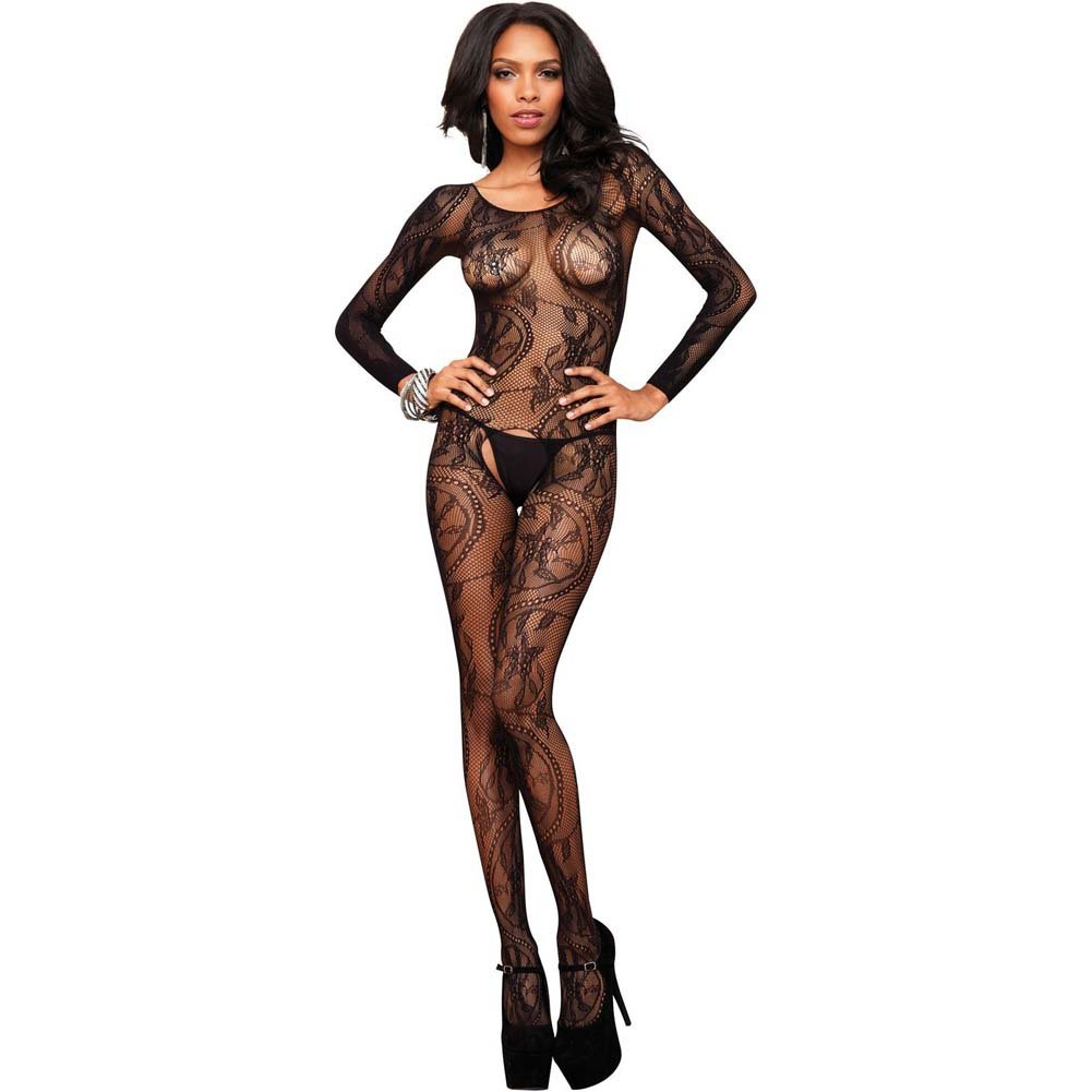 Leg Avenue Swirl Lace Long Sleeve Bodystocking One Size Black - View #1