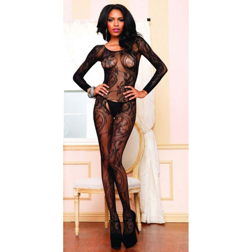 Leg Avenue Swirl Lace Long Sleeve Bodystocking One Size Black - View #3