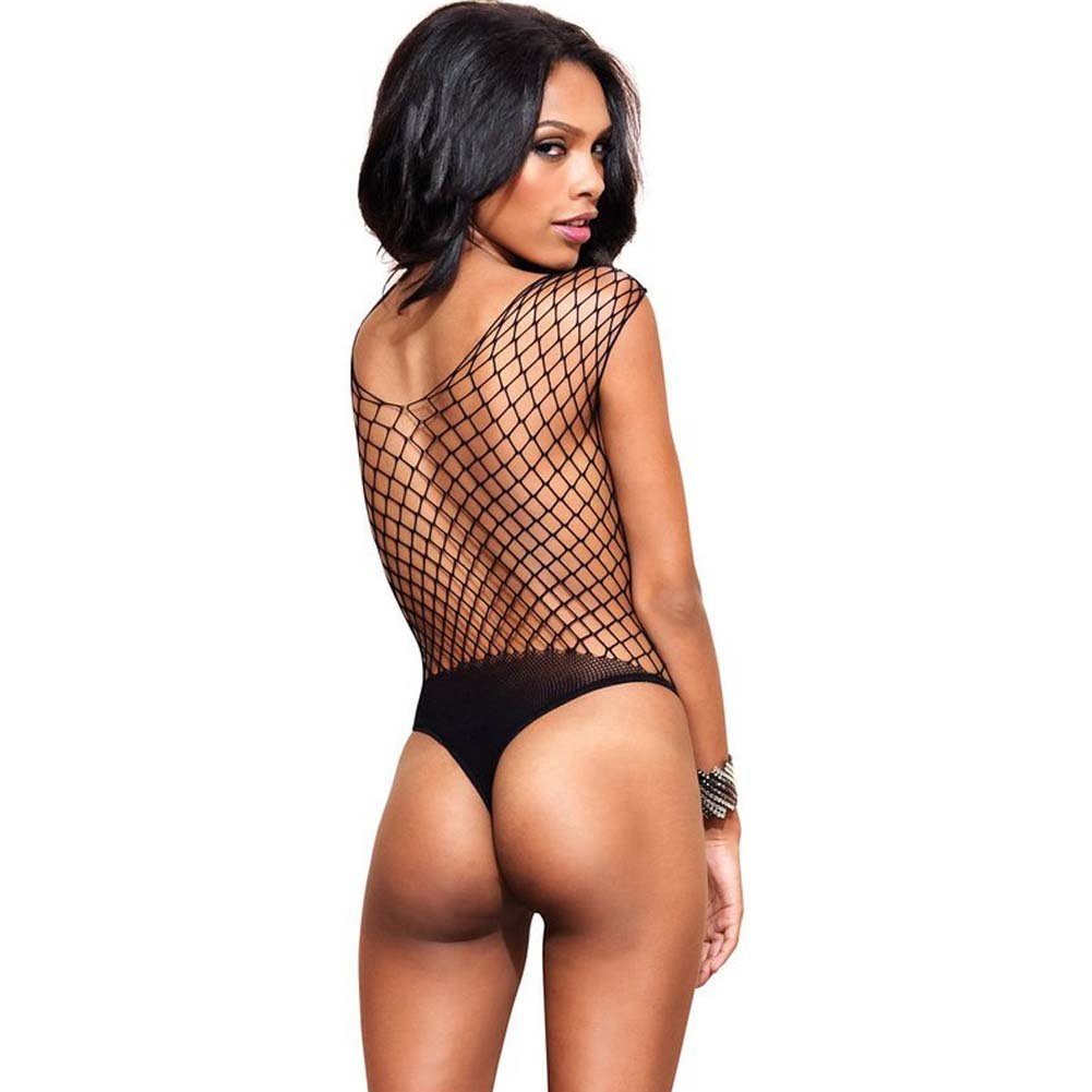Leg Avenue Seamless Diamond Net Thong Teddy One Size Black - View #2