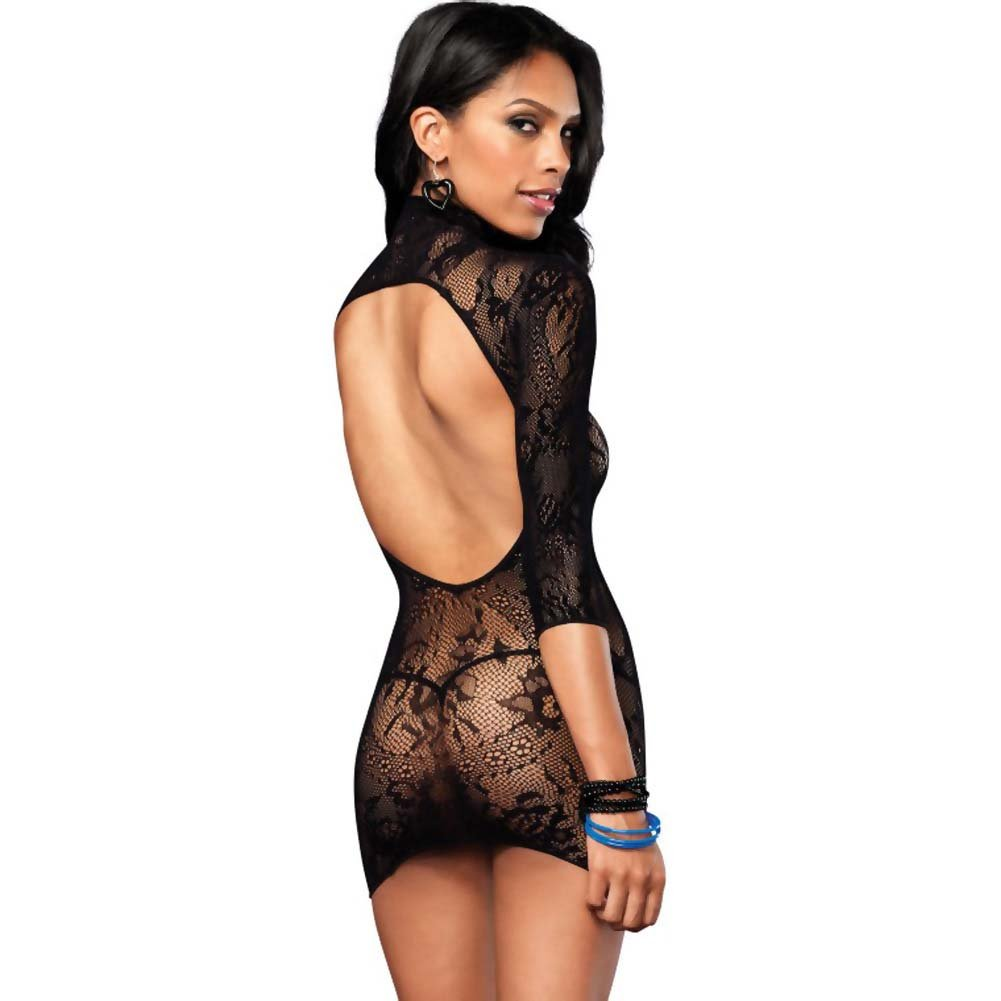Leg Avenue Floral Lace High Open Back Mini Dress One Size Black - View #2