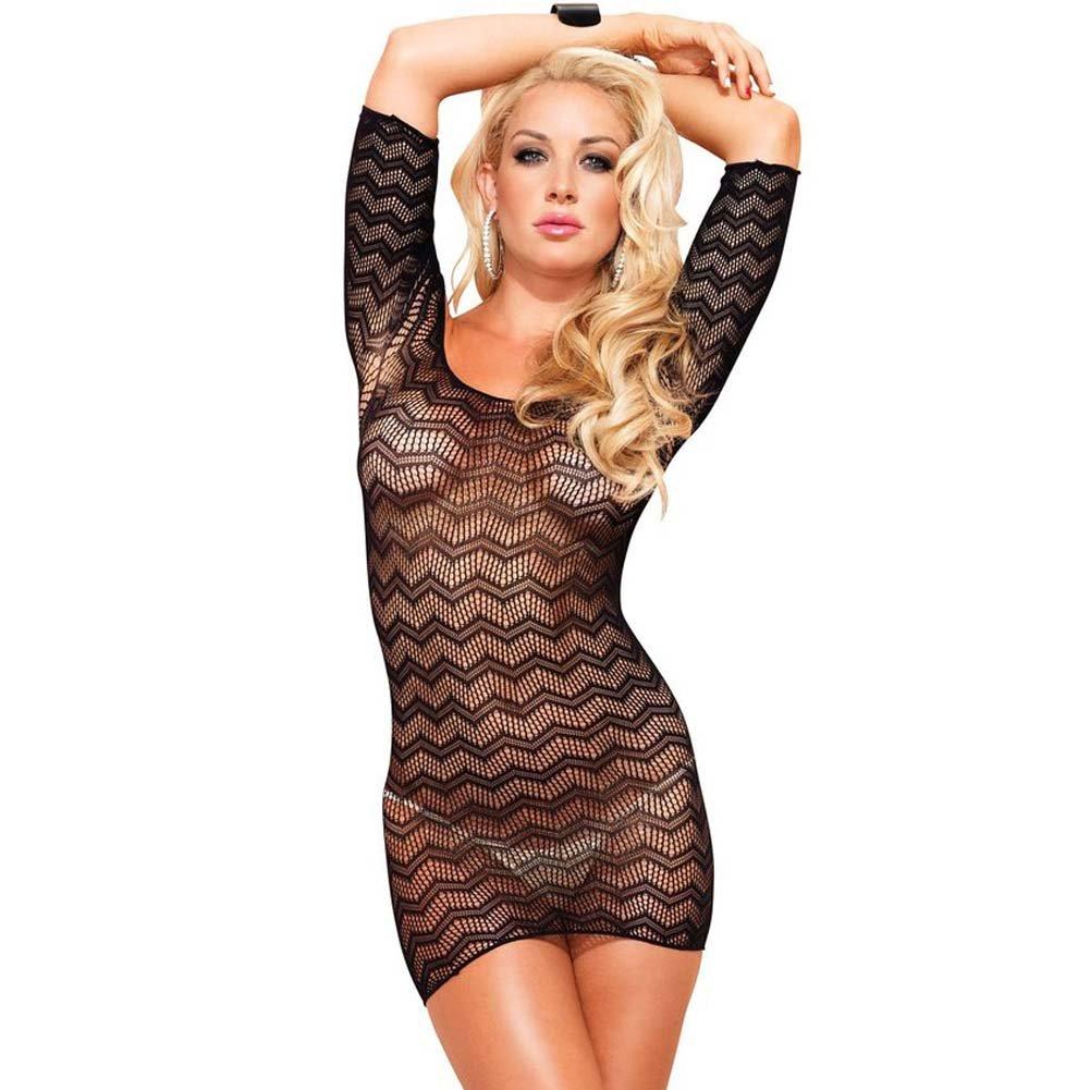 Leg Avenue Zig Zag Crotchet Net Mini Dress One Size Black - View #1