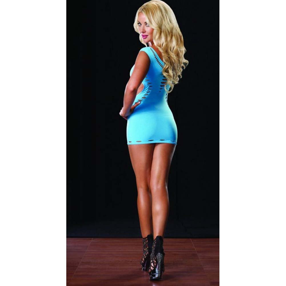 Leg Avenue Seamless Cut Out Mini Dress One Size Neon Blue - View #4
