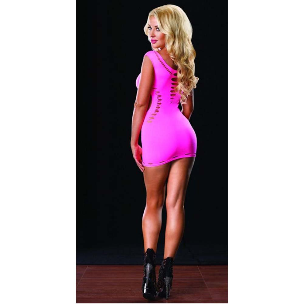 Seamless Cut Out Mini Dress Neon Pink One Size - View #4
