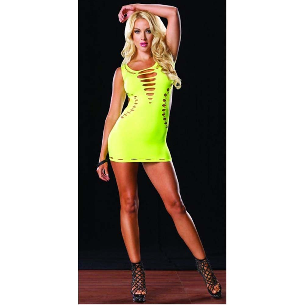 Leg Avenue Reversible Seamless Mini Dress One Size Neon Yellow - View #3