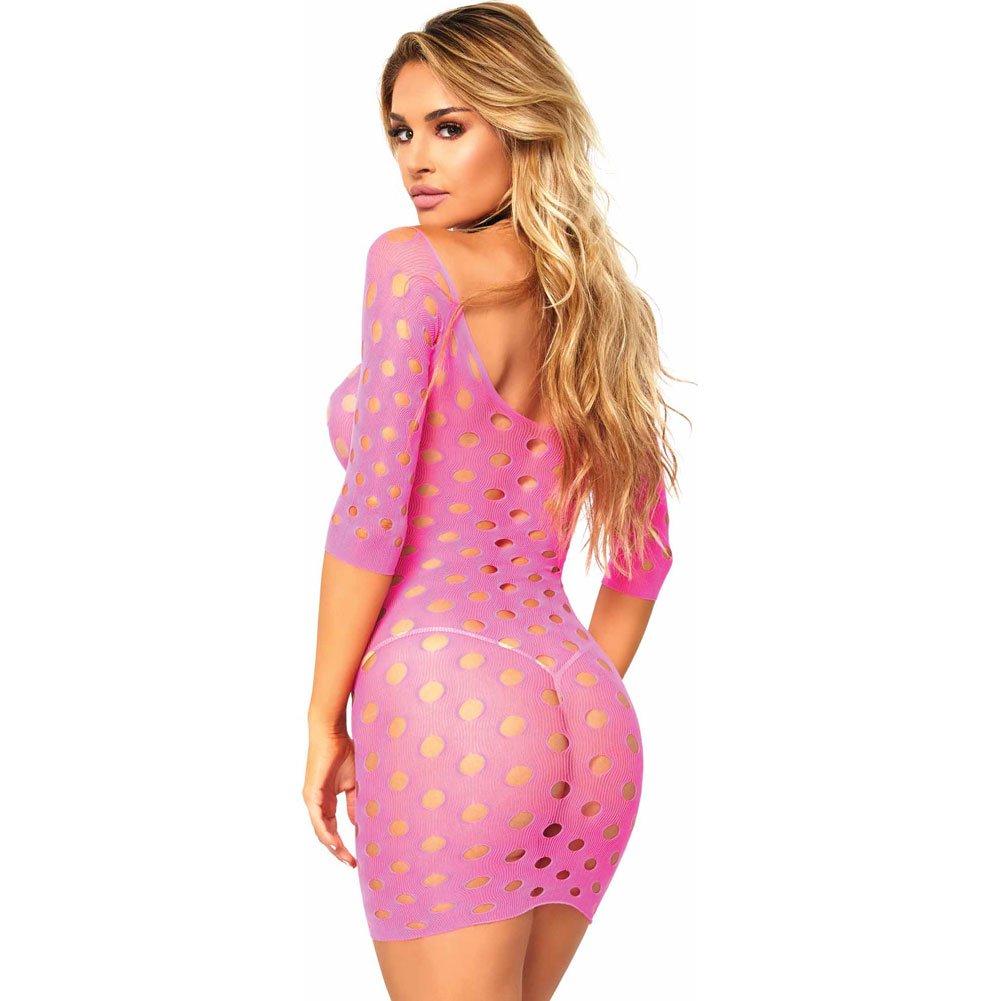 Leg Avenue Seamless Pothole Mini Dress One Size Neon Pink - View #2