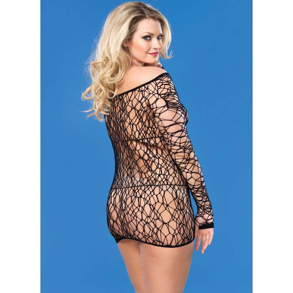 Leg Avenue Web Net Long Sleeved Mini Dress One Size Queen Black - View #2