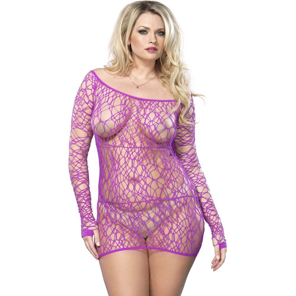 Leg Avenue Web Net Long Sleeved Mini Dress One Size Queen Purple - View #1