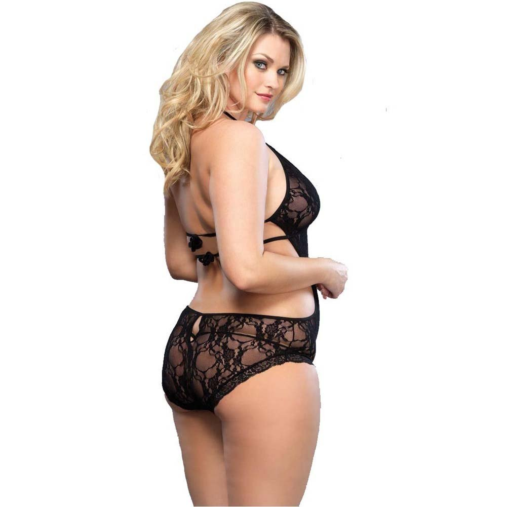 Leg Avenue Lace Deep-V Halter Teddy One Size Queen Black - View #2