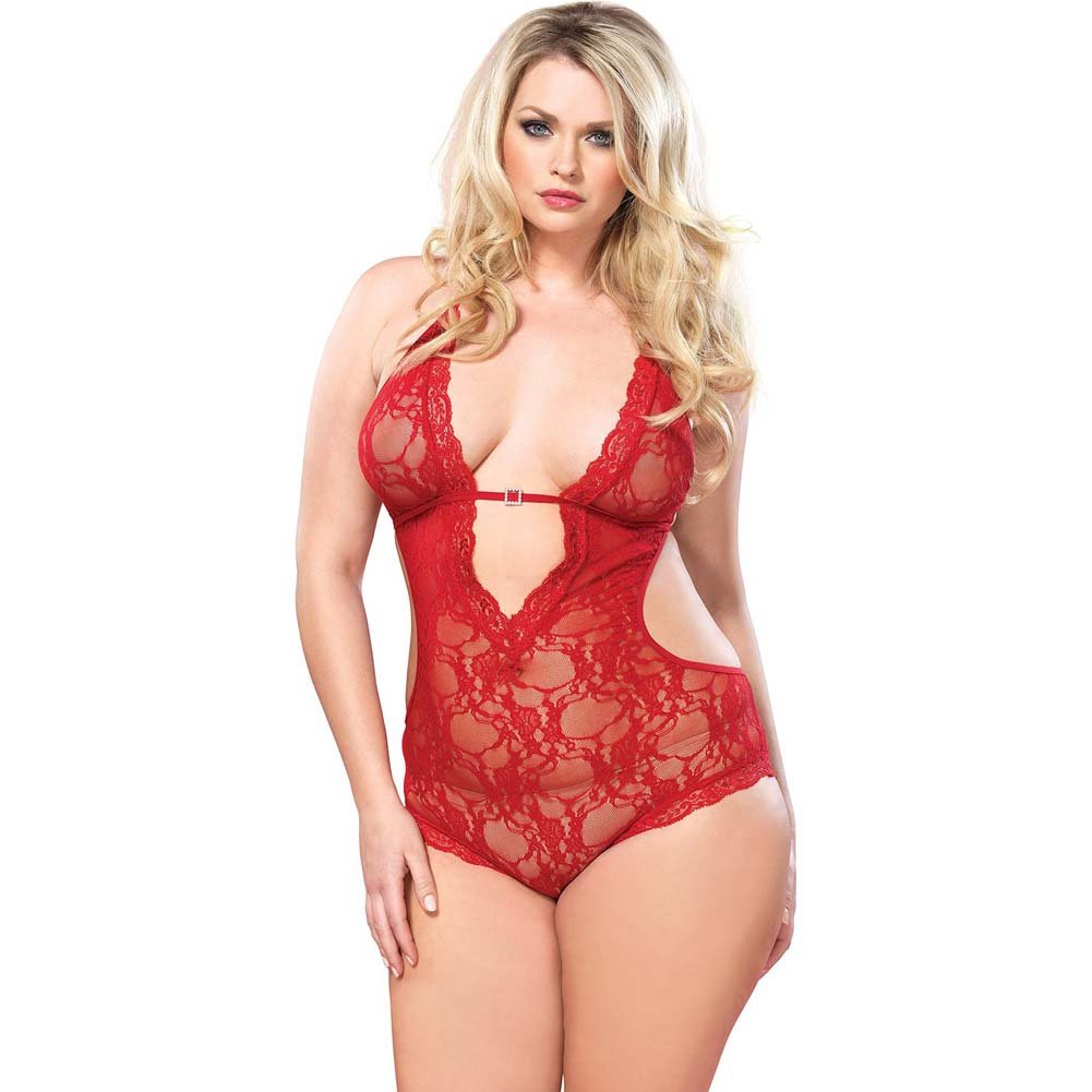 Leg Avenue Stretch Lace Deep-V Halter Teddy One Size Queen Red - View #1