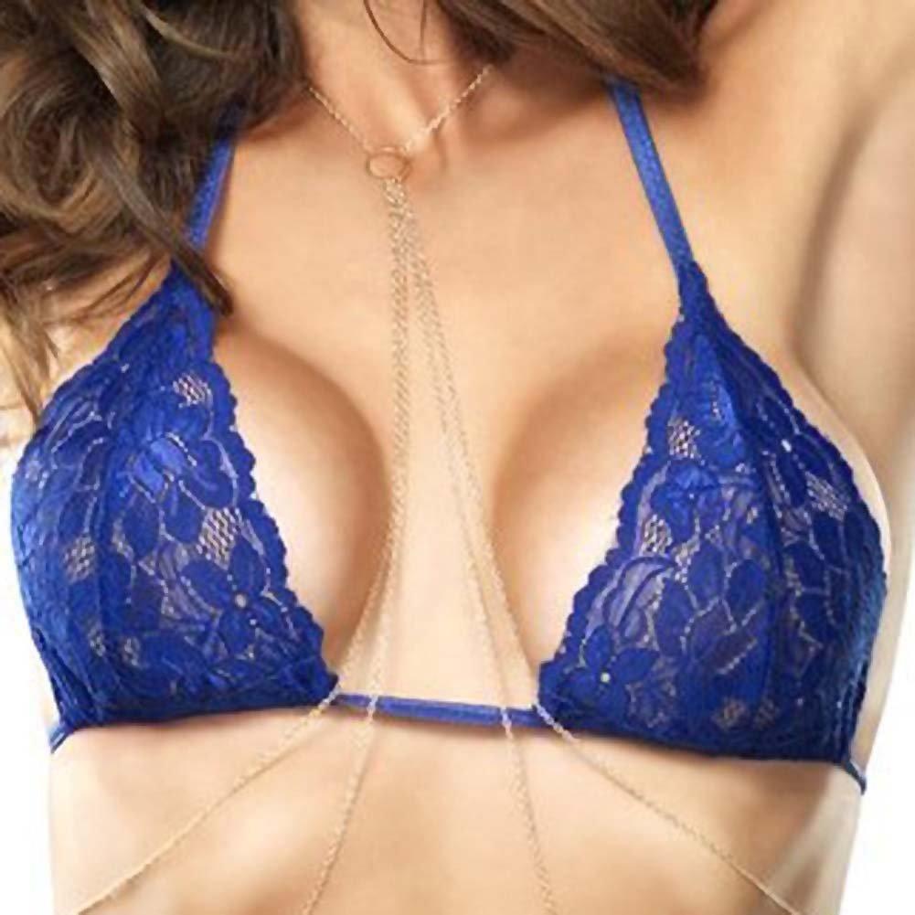 Leg Avenue Celestial Lace BraThong and Chain Small/Medium Blue - View #3
