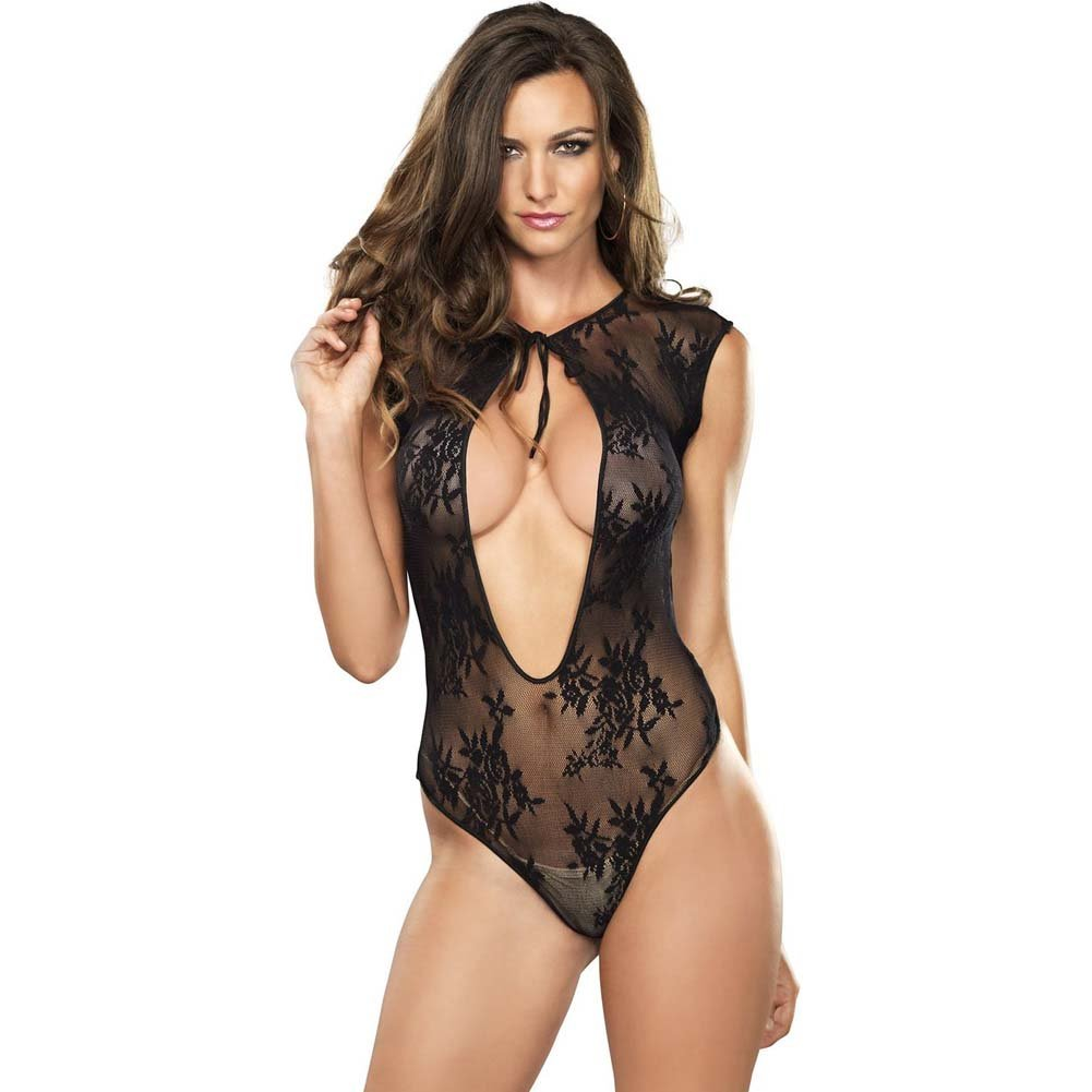 Leg Avenue Stretch Lace Teddy with Keyhole and G-String One Size Black - View #1